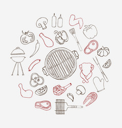collection of hand drawn barbeque elements vector image vector image