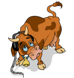 cow with headphones vector image vector image