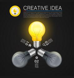 creative idea idea lamp light black background vector image vector image