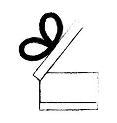 open gift box ribbon black bow sketch vector image vector image