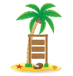 palm tree and wooden pointer board vector image