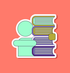 paper sticker on stylish background schoolboy vector image vector image