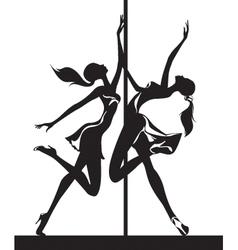 Pole dancers performance vector image