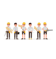 team of many various carpenters foreman engineer vector image