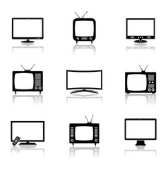 tv icons set vector image