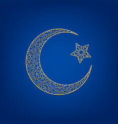crescent moon and star vector image