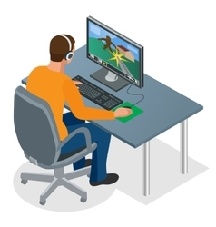 Gamer playing on pc concentrated young gamer in vector