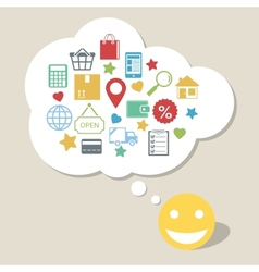 Online shopping with happy satisfied customer vector image