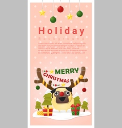 Merry Christmas Greeting banner with dog wearing vector image