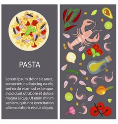 pasta restaurant menu vector image vector image