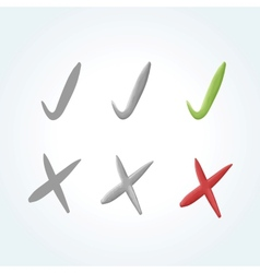 set of 3 check mark and 3 cross mark icons vector image vector image