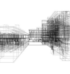 wire-frame abstract archticture vector image