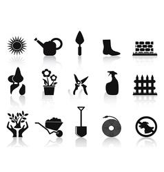 black garden icons set vector image