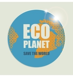 Eco planet with sun rays vector image
