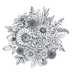 floral composition bouquet with hand drawn vector image vector image