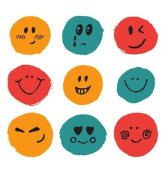 Happy faces Cute set of hand drawn funny faces vector image vector image