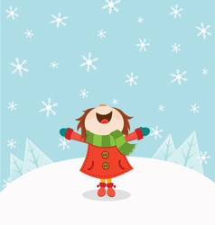 Kid Enjoying Snow vector image vector image