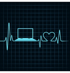 Medical technology concept heartbeat make laptop vector image