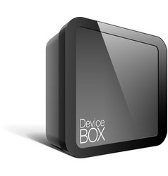 Realistic Black Package Box Square shape with a vector image vector image