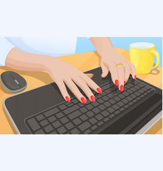 woman typing on keyboard vector image vector image