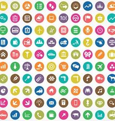 100 economy icons vector image