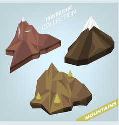 3d isometric mountains vector image