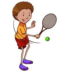 A boy playing tennis vector