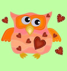 A cool owl with drunken flickering eyes in vector