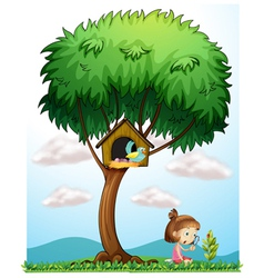A girl with a magnifying lens under a big tree vector