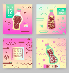 Abstract memphis style posters templates set vector