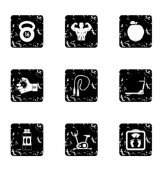 Active lifestyle icons set grunge style vector