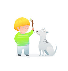 Adorable little boy and his curious puppy dog vector