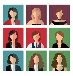 adult women avatar icons set vector image
