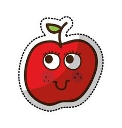 apple fruit character comic icon vector image