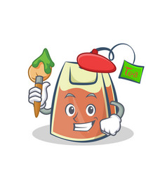 Artist tea bag character cartoon vector
