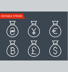 bags with money thin line icons set vector image