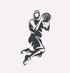 basketball player jumping stylized silhouette vector image