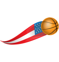 basketball with shape flag usa vector image