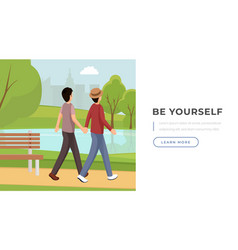 Be yourself slogan landing page template romantic vector