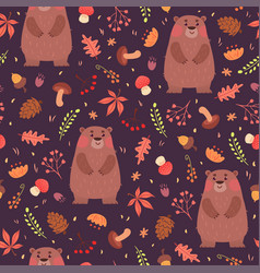 bears and herbs seamless pattern vector image