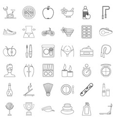 beauty icons set outline style vector image