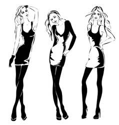 Black and white fashion woman models in sketch vector image