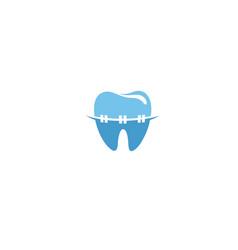 Braces tooth teeth dentist dental logo symbol vector