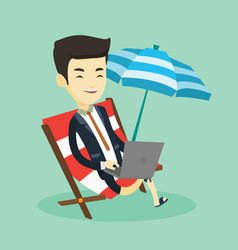 business man working on laptop at the beach vector image