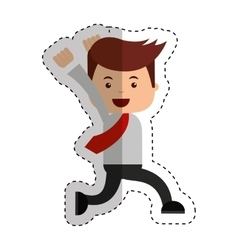 Businessman running funny character icon vector