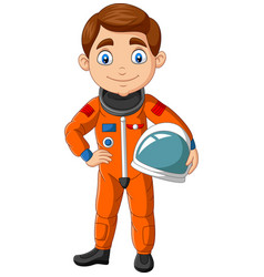 cartoon boy astronaut holding helmet vector image