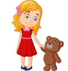 cartoon little girl with teddy bear holding hand vector image