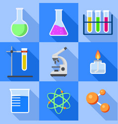chemistry icon set flat style vector image