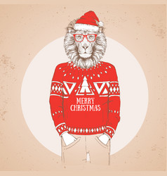 Christmas hipster fashion animal lion vector