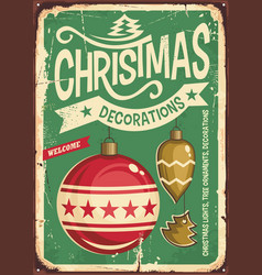 Christmas ornaments sale vintage tin sign vector